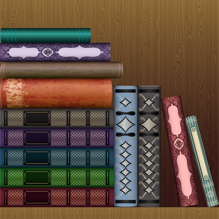 shelf with books: Vector shelf with old books Illustration