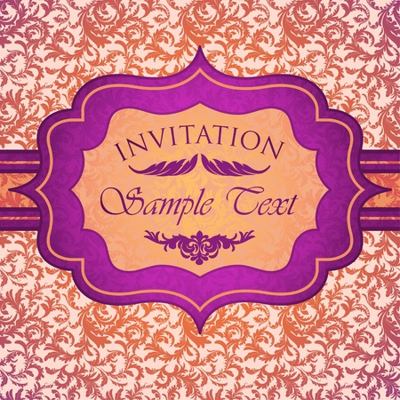 Bright vintage invitation card Stock Vector - 13039383