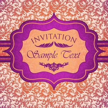 Bright vintage invitation card Stock Vector - 13039383