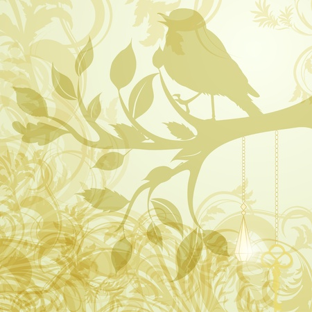 Retro background of tree branch with leaves and bird