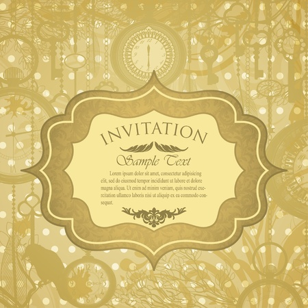 Vector grungy invitation with antique clocks Vector