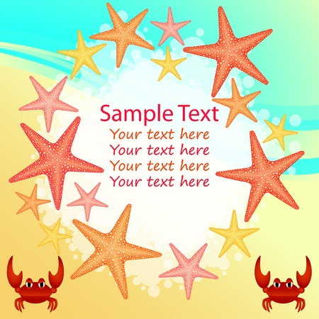 Summer beach background with frame of star-fishes Vector