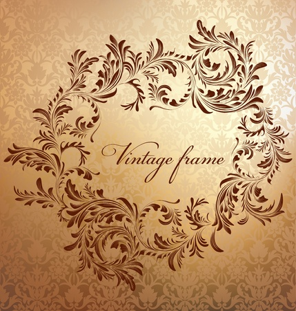 victorian fashion: Antique floral frame on seamless golden damask backdrop  Seamless pattern included