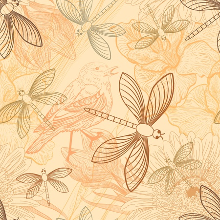 Seamless background with handdrawn birds and dragonflies