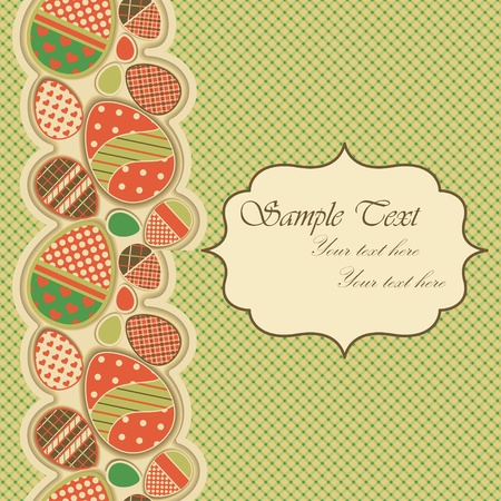 Easter greeting card with seamless border Vector