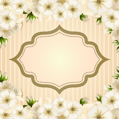 decorate element: Romantic invitation card with spring flowers
