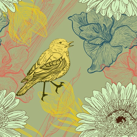 Seamless background with handdrawn birds and flowers Vector