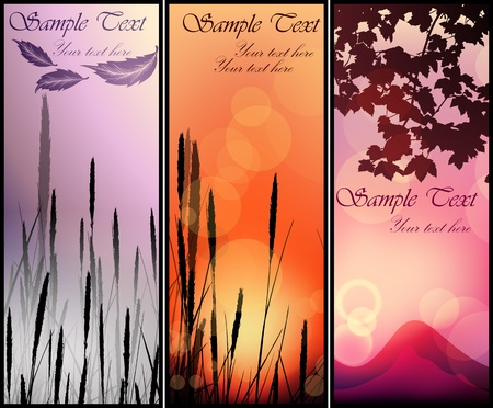 Set of sunset landscape banners Stock Vector - 13039390