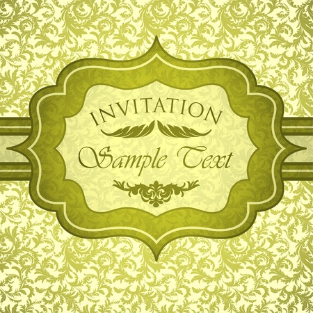 Green vintage invitation with antique floral ornament Stock Vector - 13039382