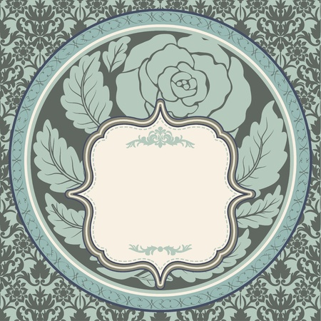Vintage rose in round frame Stock Vector - 13039374