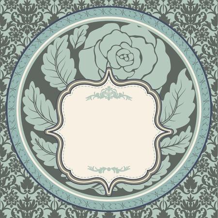 Vintage rose in round frame Stock Vector - 13039374