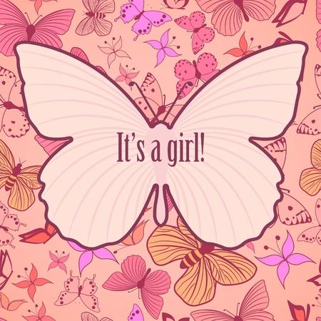 여자 아기 발표를위한 귀여운 카드