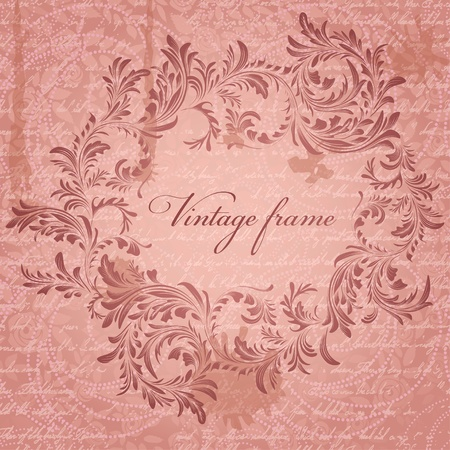 Retro background with antique floral frame Vector