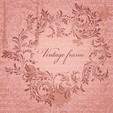 cartoline vittoriane: Sfondo retrò con antichi cornice floreale Vettoriali