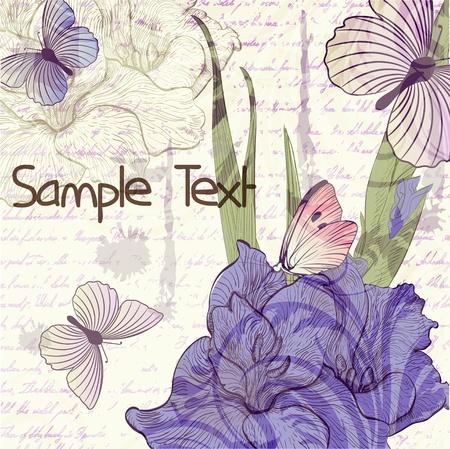글라디올러스 꽃과 나비와 함께 지저분한 복고풍 배경