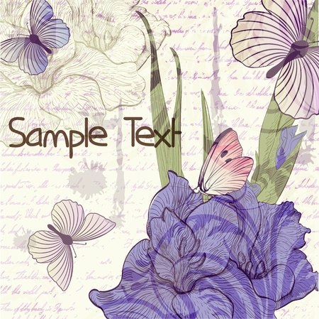 tekening vlinder: Grungy retro achtergrond met gladiolen bloemen en vlinders