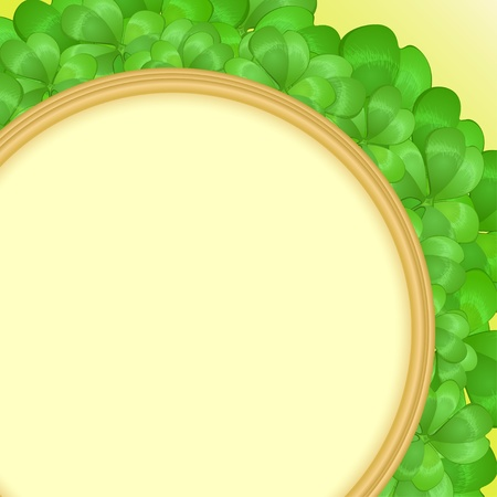 Green frame with clover leaves for St  Patrick s Day Vector