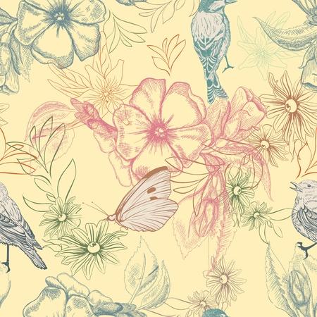 Primavera patrón con mariposas y pájaros en las flores de manzana Ilustración de vector