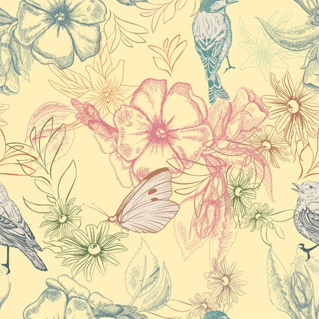 bird pattern: Spring pattern with butterflies and birds on apple flowers