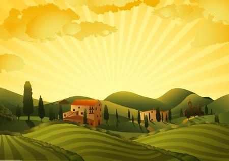 sol caricatura: Paisaje rural con campos y colinas Vectores