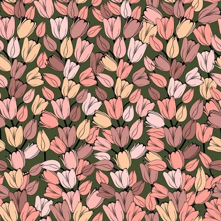 복고풍 튤립과 원활한 패턴