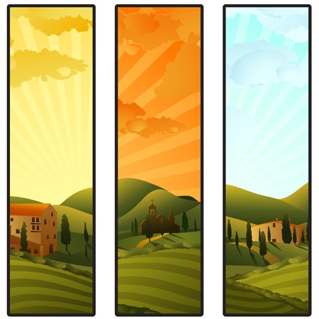 retro sunrise: Set of Tuscany landscape banners Illustration