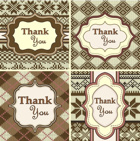 thankful: Set of vintage invitations on knitted background