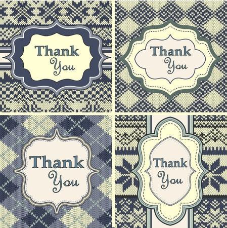 knitted background: Ajuste de la vendimia tarjetas de agradecimiento con el fondo de punto Vectores