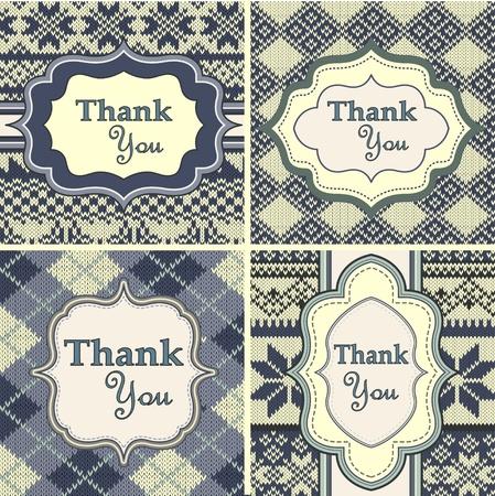 fair isle: Serie di annata biglietti di ringraziamento con sfondo a maglia
