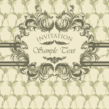 Vintage invitation card with antique floral frame Stock Vector - 13039398