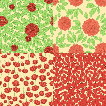 poppy pattern: Set of seamless patterns with red flowers Illustration
