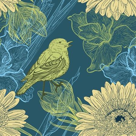 cute wallpaper: De fondo sin fisuras con los p�jaros y las flores handdrawn Vectores