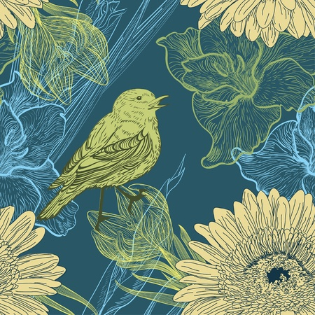Seamless background with handdrawn birds and flowers Illustration