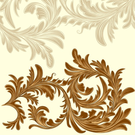 Vintage background with calligraphic detailed floral branch Vector