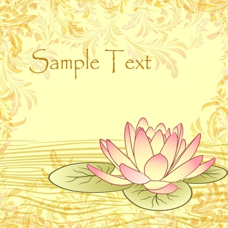 pink lotus: Vintage grunge paper background with lotus flower