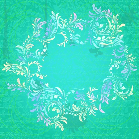 Antique turquoise floral frame on grungy parchment texture Vector