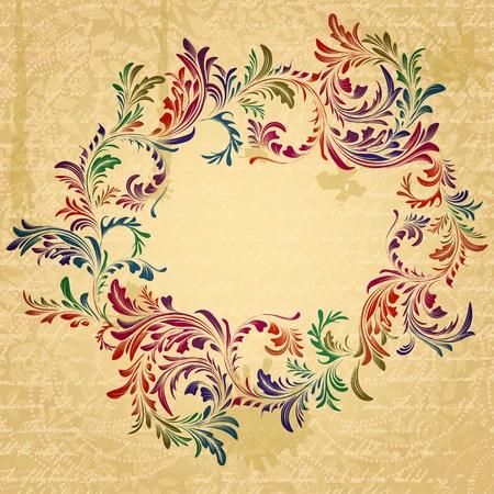 parchment texture: Antique cornice luminosa floreale sulla trama pergamena grungy