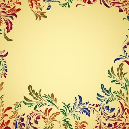 antikes papier: Jahrgang bunten floralen Hintergrund