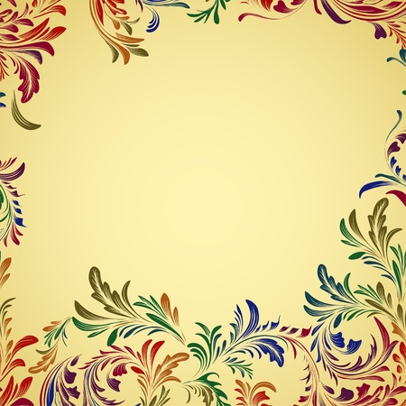antique fashion: Vintage colorful floral background