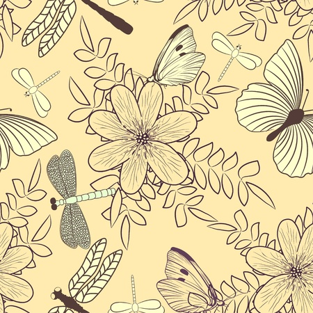 Seamless pattern with flowers and butterflies Stock Vector - 13415939