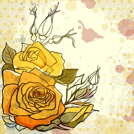 yellow roses: Grungy background with roses