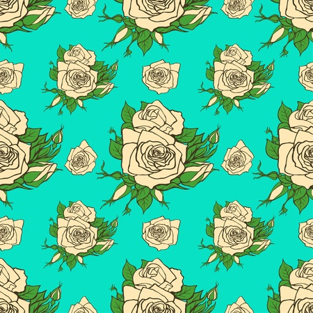 rose petal: seamless pattern with white roses Illustration