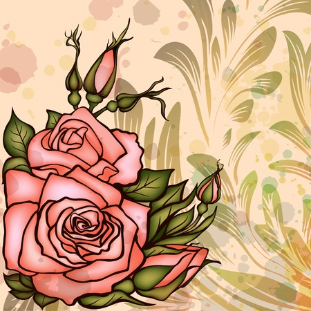 Grungy background with roses Vector