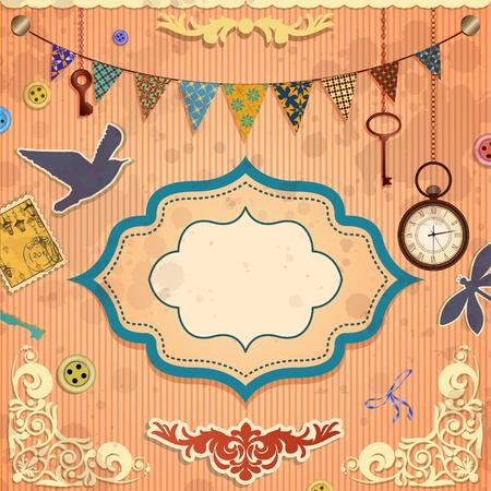 scrapbook cover: Tarjeta de �lbum de recortes de Vintage