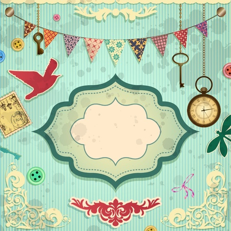 Vintage scrapbooking card Stock Vector - 14254770
