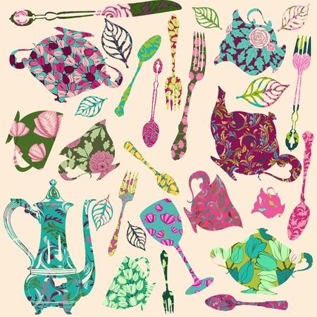 tea pot: Patch silhouettes for scrap booking of tea theme