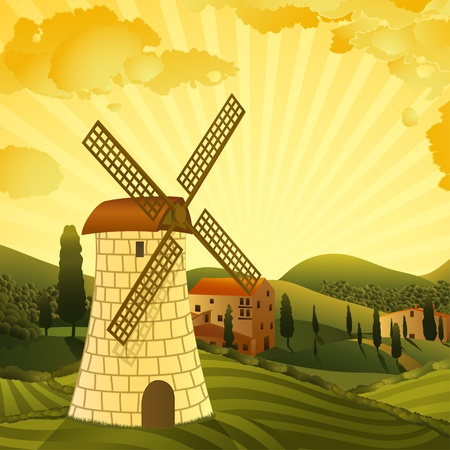 Rural landscape with a mill