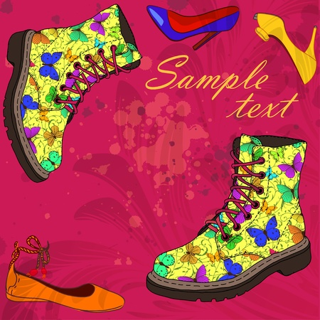 summer beauty: Background with woman shoes Illustration