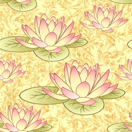 waterlilies: Seamless pattern with lotus flowers