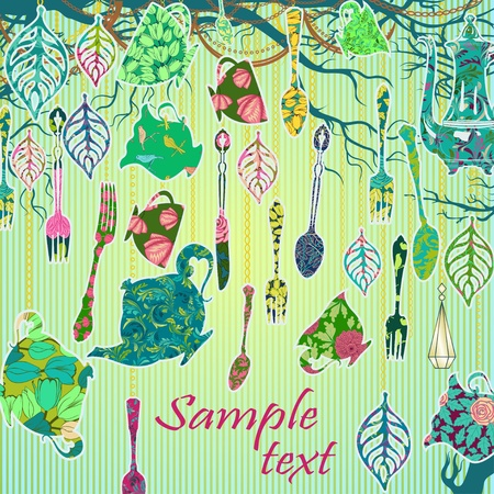 Scrapbooking background with tea party theme